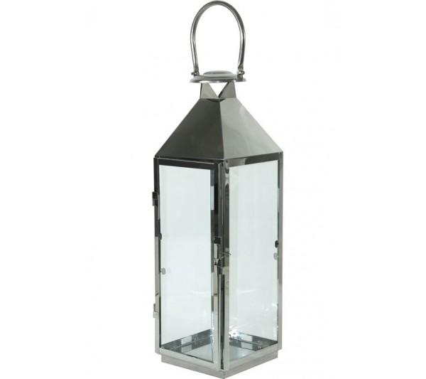 Lampion Metalowy Srebrny