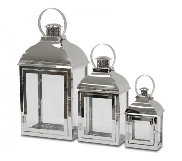 Domidea - Zestaw 3 lampionów srebrnych
