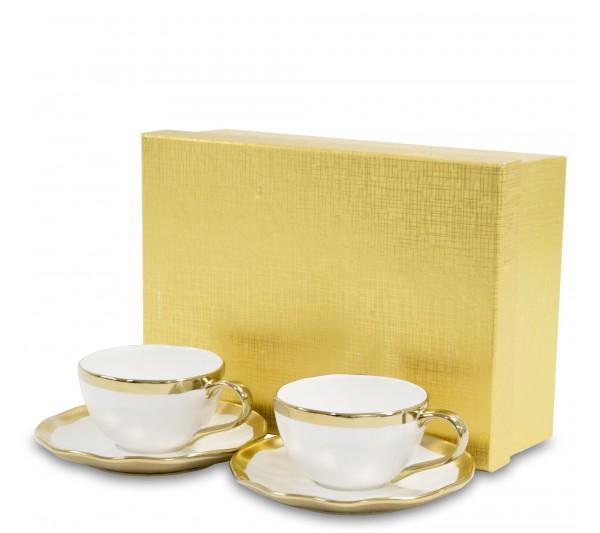 Domidea - Zestaw Filiżanki espresso Złote 2+2