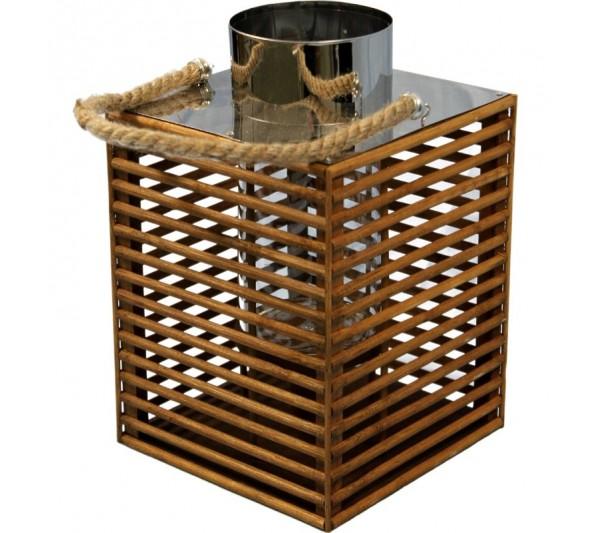 Domidea - Lampion drewniany brąz