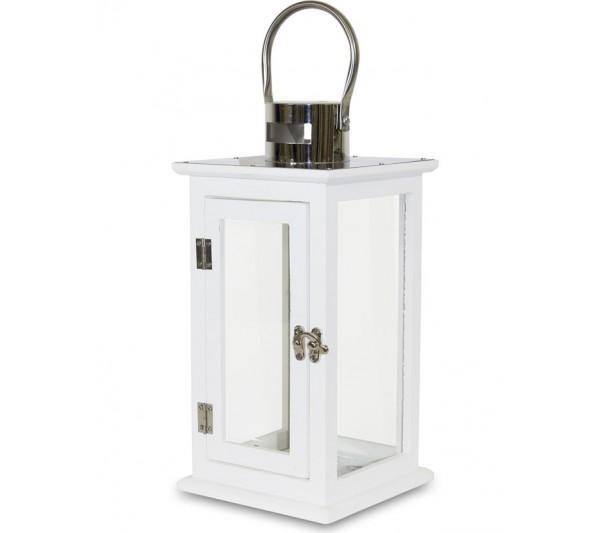 Domidea - Lampion drewniany biały