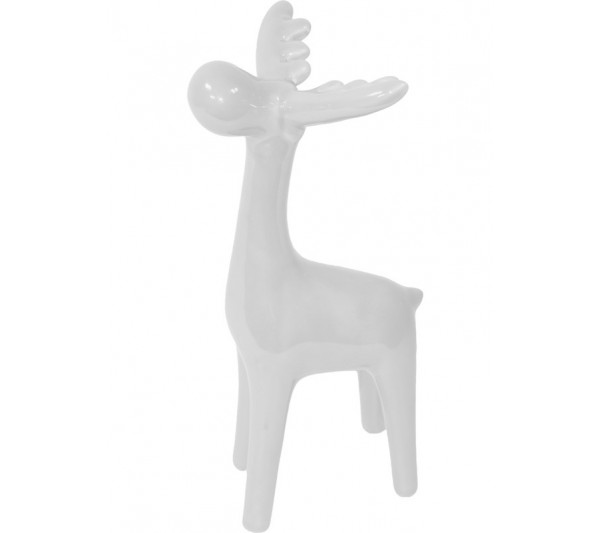 Domidea - Figurka Ceramiczna Renifer Biały 20 cm