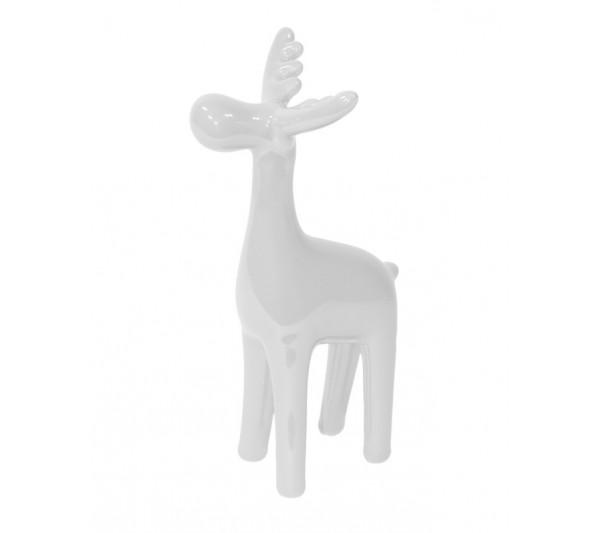 Domidea - Figurka Ceramiczna Renifer Biały 16 cm