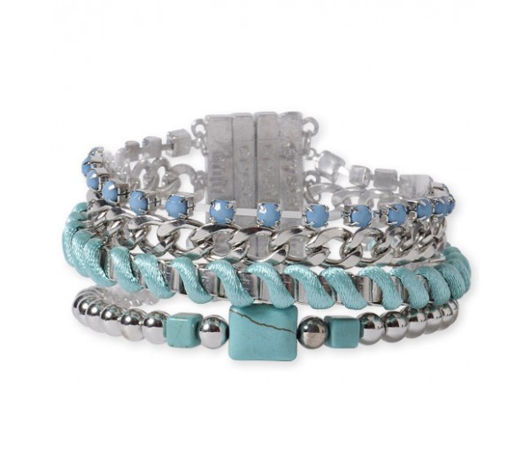 Crystal blue-Bransoletka Brazil turquoise/silver