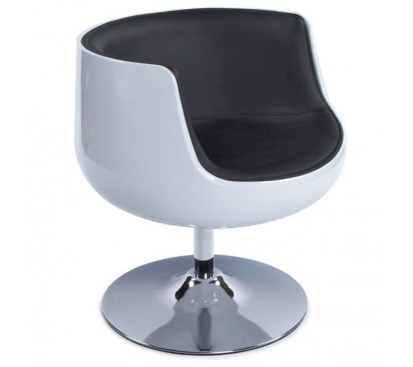 Kokoon Design - Fotel Harlow biało-czarny