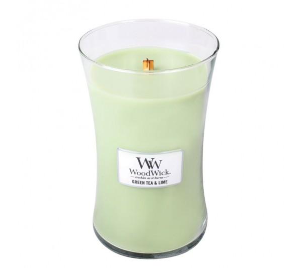 WoodWick Duża Świeca - Green Tea&Lime