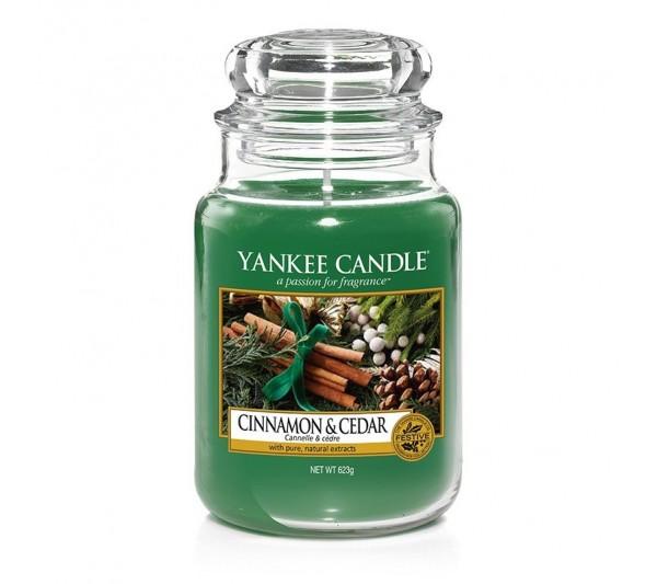 YANKEE CANDLE - Duża Świeca Cinnamon & Cedar
