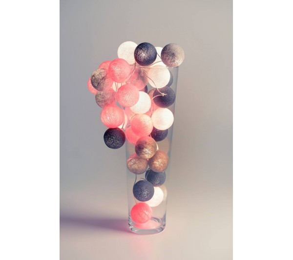 Cotton Ball Lights - Grey & Pink