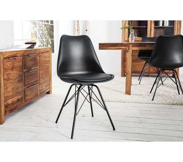 Invicta Interior -Krzesło Scandinavia Retro czarny czarny